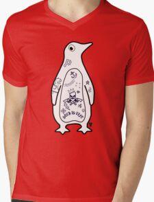 Penguin in Tat City Mens V-Neck T-Shirt