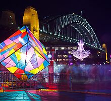 Vivid Sydney 2012 - Cube, Chandelier and Harbour Bridge by Andi Surjanto