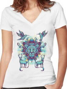 circle of nature Women's Fitted V-Neck T-Shirt