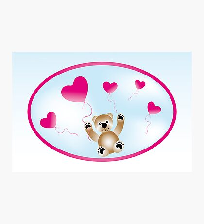 Teddy with heart-balloons Photographic Print