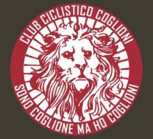 Club Ciclistico Coglioni: Monarch lion (red on white, small) by Babel