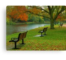 Park Benches, Stratford-upon-Avon Canvas Print
