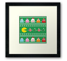 Get Ready! Christmas Pac-Man (GREEN) Framed Print