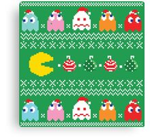 Get Ready! Christmas Pac-Man (GREEN) Canvas Print