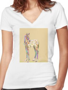 Foal paint Women's Fitted V-Neck T-Shirt