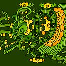 Feather serpent exhaling breath elements by Gwendal