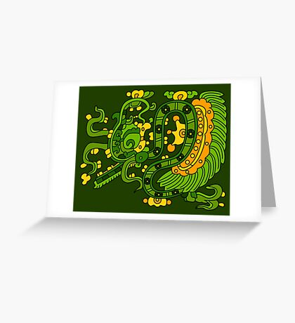 Feather serpent exhaling breath elements Greeting Card