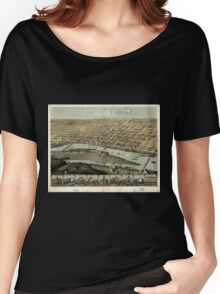 Panoramic Maps Saginaw City Michigan 1867 Women's Relaxed Fit T-Shirt