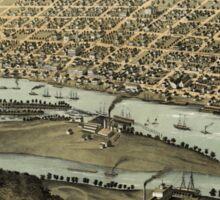 Panoramic Maps Saginaw City Michigan 1867 Sticker