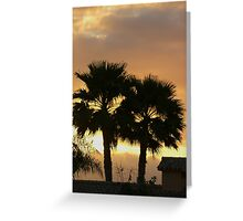 Two Palm Trees in the Sunset Greeting Card