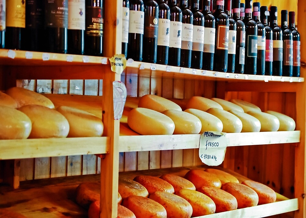 Wine and Pecorino Cheese Shop by Lynnette Peizer