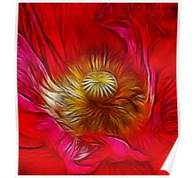 Red Poppy Heart Poster