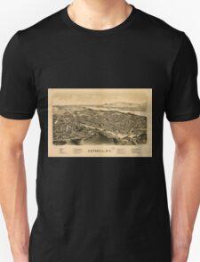 Panoramic Maps Catskill NY Unisex T-Shirt