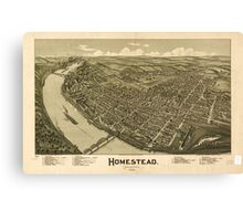 Panoramic Maps Homestead Pennsylvania 1902 Canvas Print