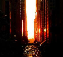 Manhattanhenge Sunset - Times Square - New York City by Vivienne Gucwa