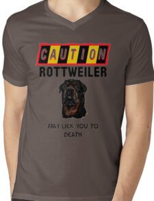 Caution Rottweiler May Lick You To Death Mens V-Neck T-Shirt