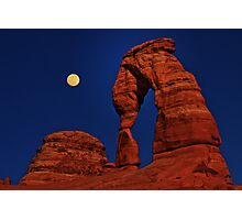 Moon Over Delicated Arch Photographic Print