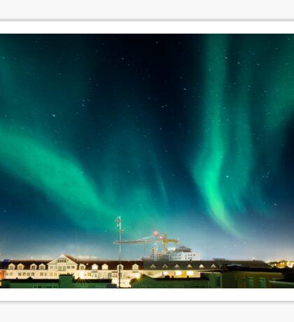 Northen lights over Reykjavík Sticker