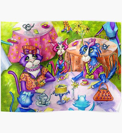 Biddy Kitty Tea Party, by Alma Lee Poster