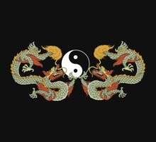 Yin Yang Dragon Black T-Shirt Kids Clothes