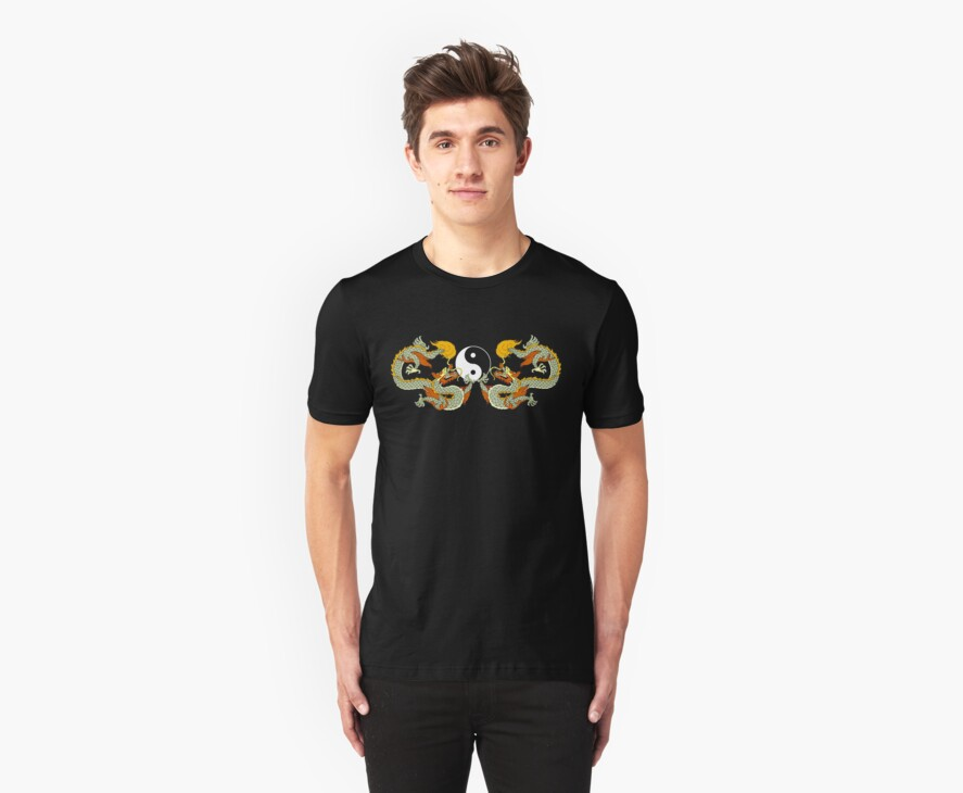 Yin Yang Dragon Black T-Shirt by AsianT-Shirts