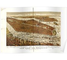 Panoramic Maps New York and Brooklyn with Jersey City and Hoboken water front Poster