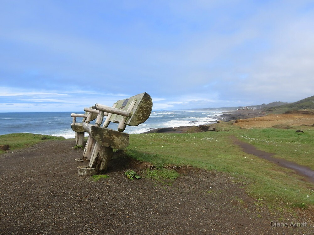 Benches...Beach At Adobe Resort...Yachats, Oregon by Diane Arndt