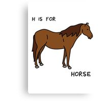 H is for Horse (Animal Alphabet) Canvas Print