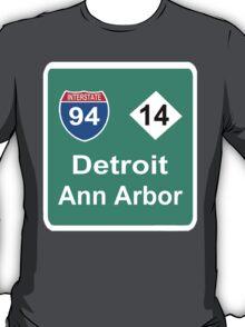 DETROIT MEETS ANN ARBOR: INTERSTATE 94   M-14 T-Shirt