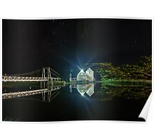 Lorne Boatshed at Night Poster