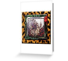 Henna Fire Fairy with Leopard Print By Cynthia McDonald Greeting Card