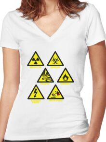 Warning Signs Women's Fitted V-Neck T-Shirt