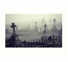 fog in the graveyard Art Print