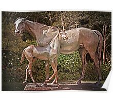 Mare and Foal Sculpture (La Reyna) Poster