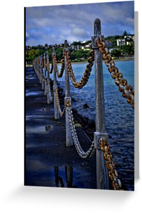 Rusty Chains by the Water by Monique Wajon