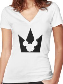 Kingdom Hearts Mickey Crown Poster Women's Fitted V-Neck T-Shirt