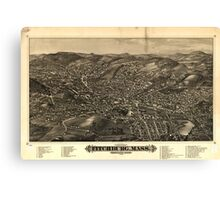 Panoramic Maps Fitchburg Mass 1882 Canvas Print