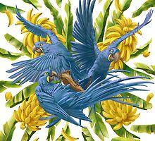 Hyacinth Macaws and Bananas Stravaganza by Iker Paz Studio