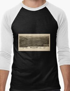 Panoramic Maps Warsaw NY Men's Baseball ¾ T-Shirt