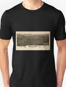 Panoramic Maps Warsaw NY Unisex T-Shirt