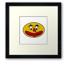 Bite Your Tongue - Funny Yellow Face Framed Print
