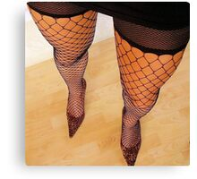 Long Sexy Legs In High Heels and Fishnet Stockings Canvas Print