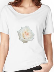 White Rose With Natural Garden Background Women's Relaxed Fit T-Shirt