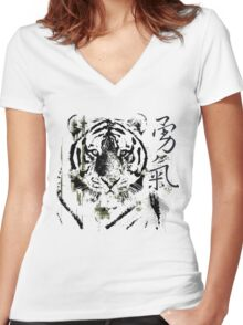 Chinese Symbol for Courage T-Shirt Women's Fitted V-Neck T-Shirt