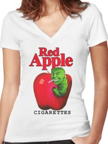 Red Apple Cigarettes Women's Fitted V-Neck T-Shirt