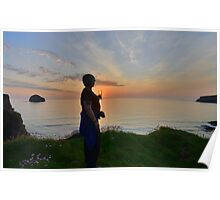 Cornwall: Sunset in a Glass Poster