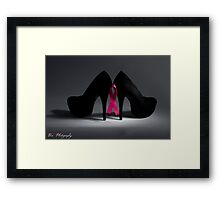 "Breast cancer awareness ""Black heels and Ribbon"" Framed Print"