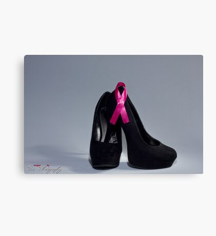 "Breast cancer awareness ""Black heels and Ribbon"" Canvas Print"