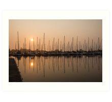 Pale Pastel Sunrise with Yachts Art Print