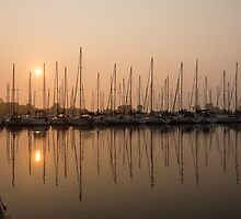 Pale Pastel Sunrise with Yachts by Georgia Mizuleva